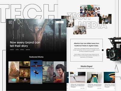 1216 Media - Redesign Concept 2 camera homepage landing page team video media interface ui website concept webdesign website