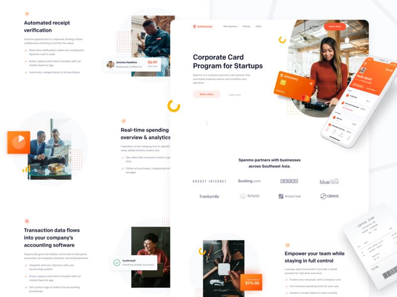 Spenmo - Website Concept 02 homepage website design webdesign website concept interface landing page ui credit card receipt