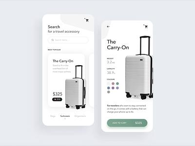 Suitcases concept app ux uiux ui hello dribble travel luggage suitcase