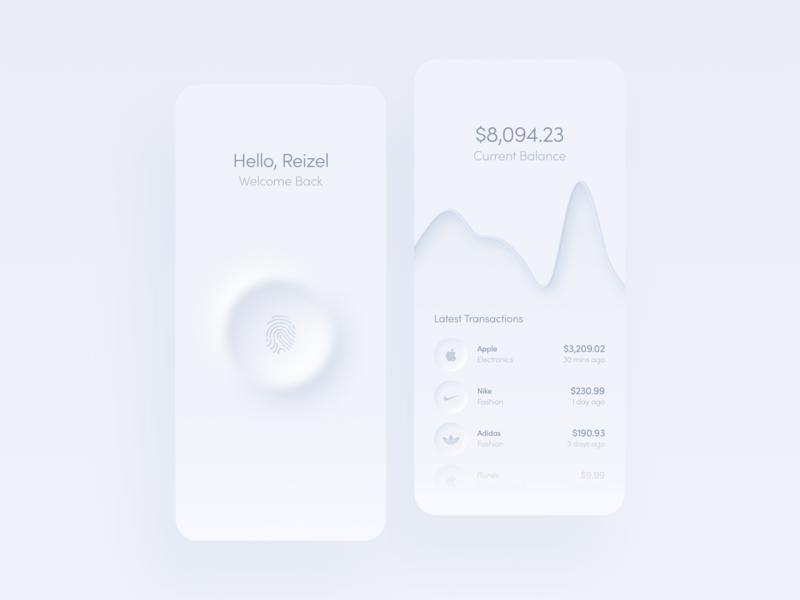 Banking App Light Mode ux app design hello dribbble light fingerprint concept uiux ui app neumorphism neumorphic