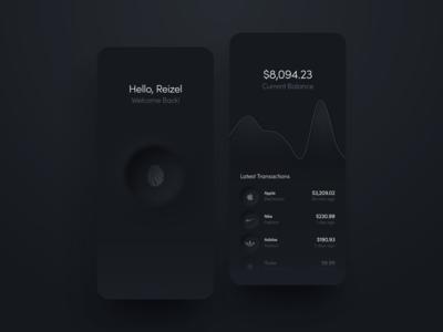 Banking App Dark Mode dark fingerprint hello dribbble neumorphism neumorphic concept ux ui app design app