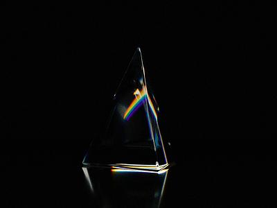 Triangular prism clean glass lightning rainbow 3d art aniamtion blender