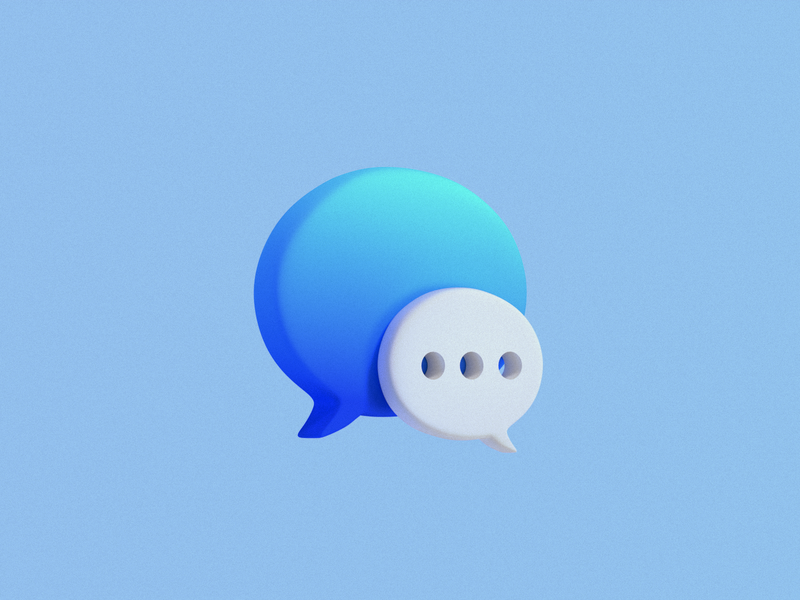 imessage icon 3d message app message gradient web blender3d blender icon design icon