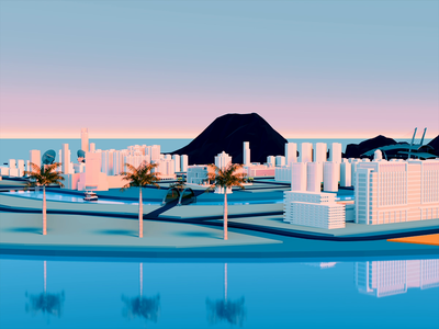 asiainfocity sea city eevee 3d art blender illustration wantline