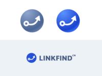 Linkfind-icon link icon design blue vector branding illustration logo icon