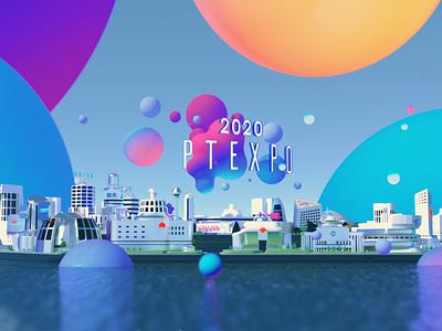 2020PTEXPO 3d art blender bubbles city illustration