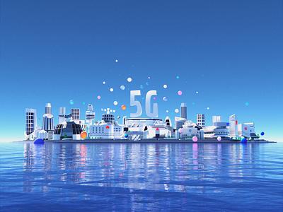 5G City 3d art bulding future blender city