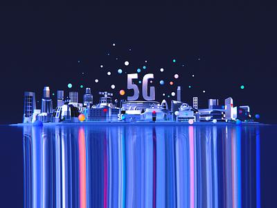 5G City Dark future city cityscape 3d art blender illustration