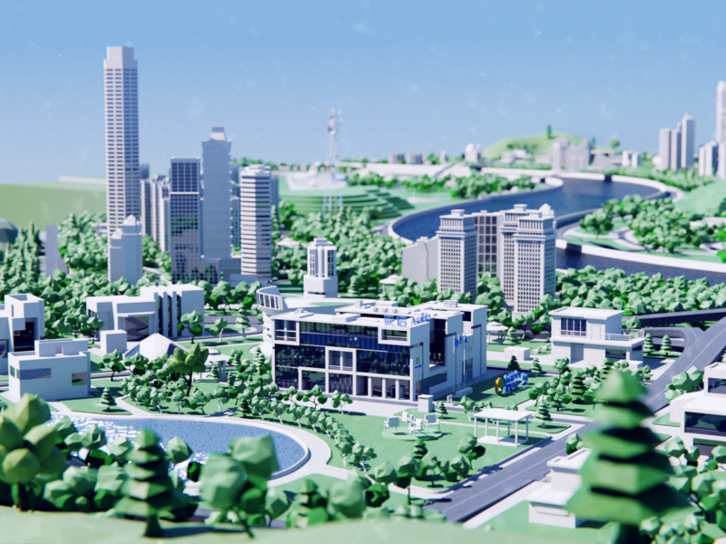 AsiaInfo 5G City hometown illustration city blender3d blender