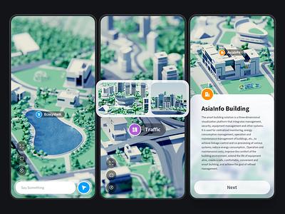AsiaInfo 5G City App uidesign 3d art ux iphone 12 mobile illustration blender app design
