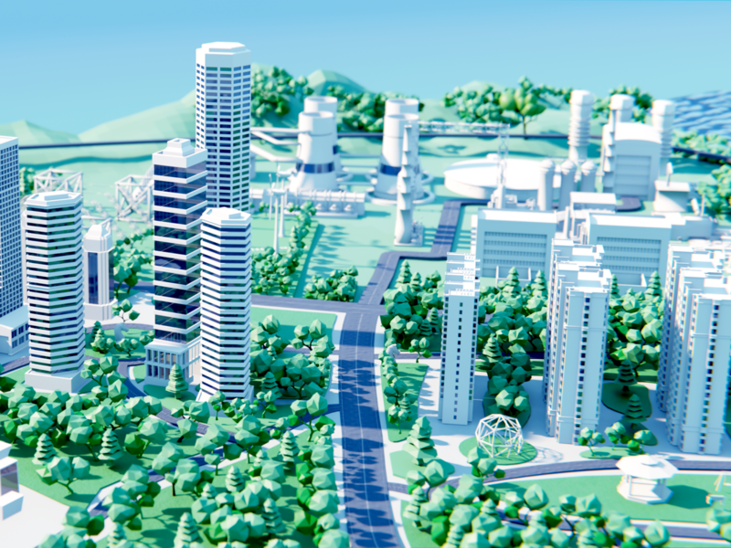 AsiaInfo 5G City 03 wantline clean illustration 5g buiding city 3d art blender3d