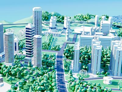 AsiaInfo 5G City 03 wantline clean illustration 5g buiding city 3d art blender3d