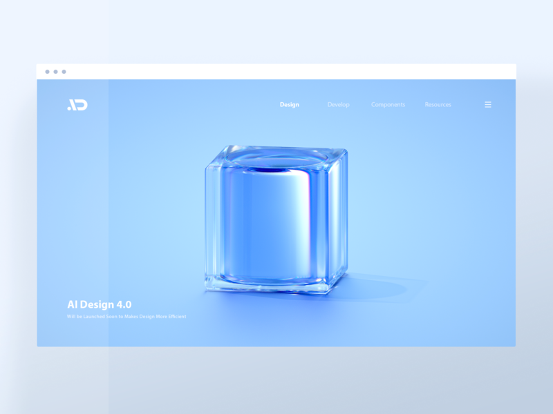 AI Design 4 0 Scenes 02 glass web webdesign clean blue illustration 3d blender cube asiainfo aidesign