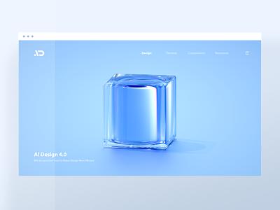 AI Design 4 0 Scenes 02 glass web webdesign clean blue illustration 3d blender cube asiainfo aidesign