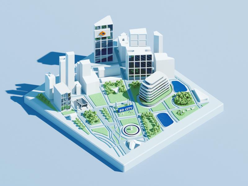 Mini City for Blender 3dmap map roadmap hometown city 3d art blender clean flat illustration wantline