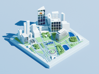 Mini City for Blender 3dmap map roadmap hometown city 3d art blender clean flat illustration wantline