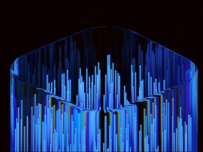 Data transmission particle data transmission abstract glassy 3d art clean blue wantline blender