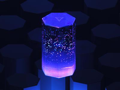 HYPERVIEW-Hexagon data box logo branding wantline clean particle bigdata data hexagon cube 3d art blue blender illustration
