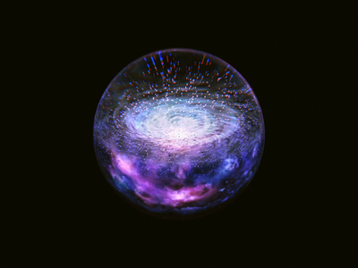 Galaxy ball transmission 3danimation animation 3d artist 3d art particle glassy wantline blender galaxy
