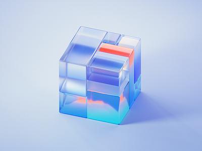 GLASS-CUBE-5-7 glassy transmission abstract gradient branding 3d art blue clean blender illustration wantline