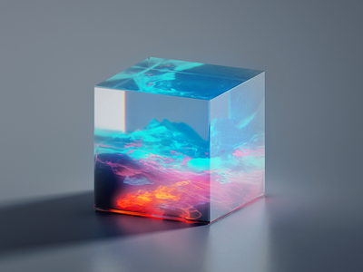 GLASS-CUBE-5-11 material fluid cube gradient abstract 3d art blue flat clean blender illustration wantline