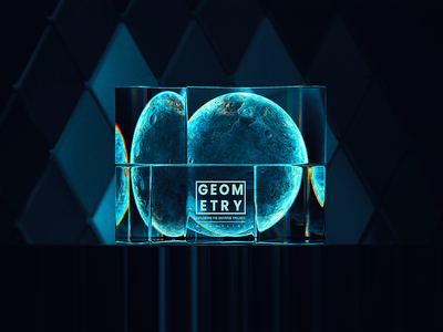GEOMETRY-PLANET-519 space daliyui gradient abstract glass glassy cube geometry planet blue 3d art blender illustration wantline