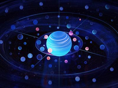 Galaxy energy planet galaxy 3dart blue blender illustration wantline