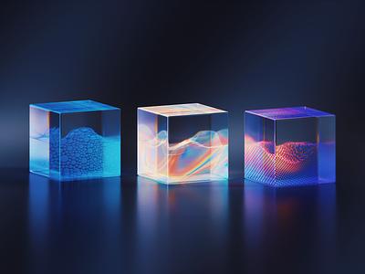 GLASS-CUBE-7-5 light transmission glass gradient abstract clean blender illustration wantline