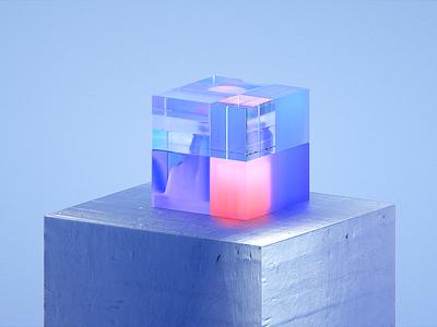 Explorations-827 brand 3d art glass transmission gradient abstract clean blender illustration wantline