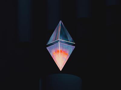 ETH100-001 gradient abstract diamond nft btc ethereum eth icon clean blender illustration wantline