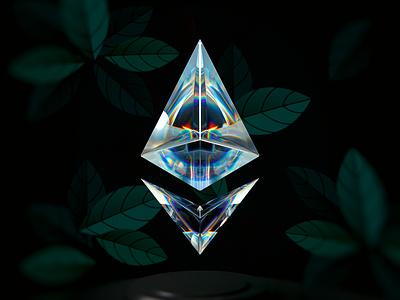 ETH100-002 vuesax wantline blender diamond gradient abstract glass ethereum eth graphic design 3d