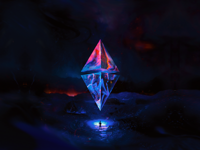 ETH100-004 explore diamond gem nft adventure ethereum eth blender illustration wantline
