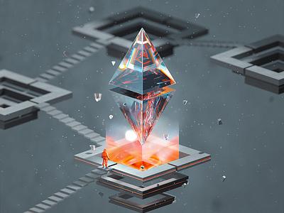 ETH100-005 btc cryptocurrency currency cryptal nft adventure ethereum eth blender illustration wantline
