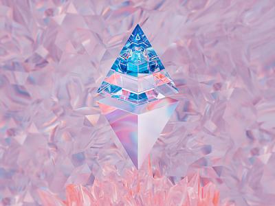 ETH100-008 cryptal gradient glass glossy btc ethereum eth nfts nft abstract blender illustration wantline