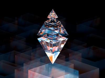 ETH100-009 transmission glass glossy adventure btc cryptal nfts nft ethereum eth abstract 3d blender illustration wantline