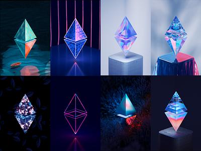 ETH100-8 texture material glass vuesax adventure abstract ethereum eth nft blender illustration wantline