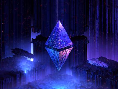 ETH100-#032 abstract future space sci-fi adventure nfts nft ethereum eth 3d blender illustration wantline