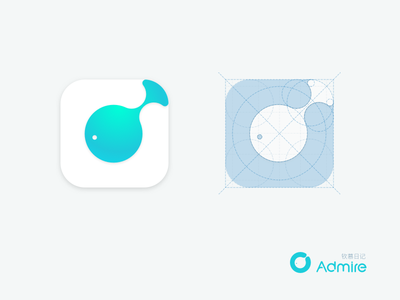 Admire and Fish-Icon design simple mac logo iphone ios identity geometry apple clean fish app icon
