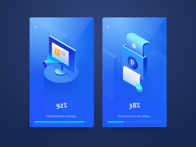 Document scanning and unlocking side axis wantline clean blue unlock scan lock illustration ios ui
