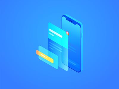 iPhone X UI Perspective gradient flat blue wantline illustrator perspective ui iphonex