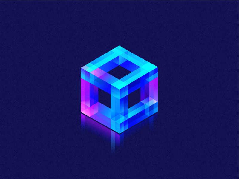Cube 2 wantline illustration flat cube colorful clean blue