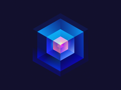Cube4 cube wantline illustration flat colorful clean blue
