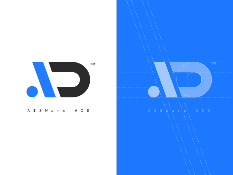 Aisware AIDesign typography branding clean icon logo blue flat