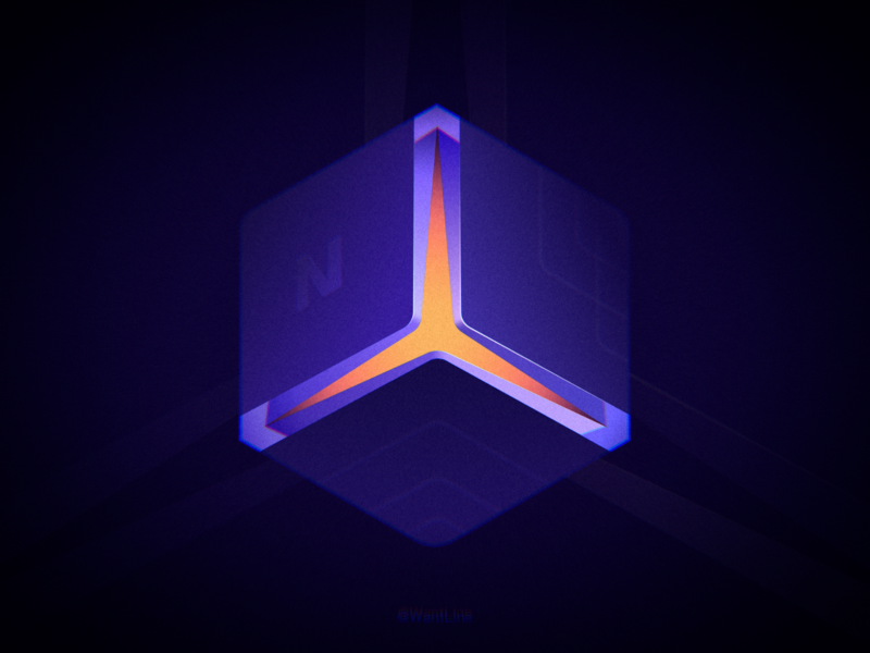 Glowing Cube light light box blue illustration clean icon flat wantline