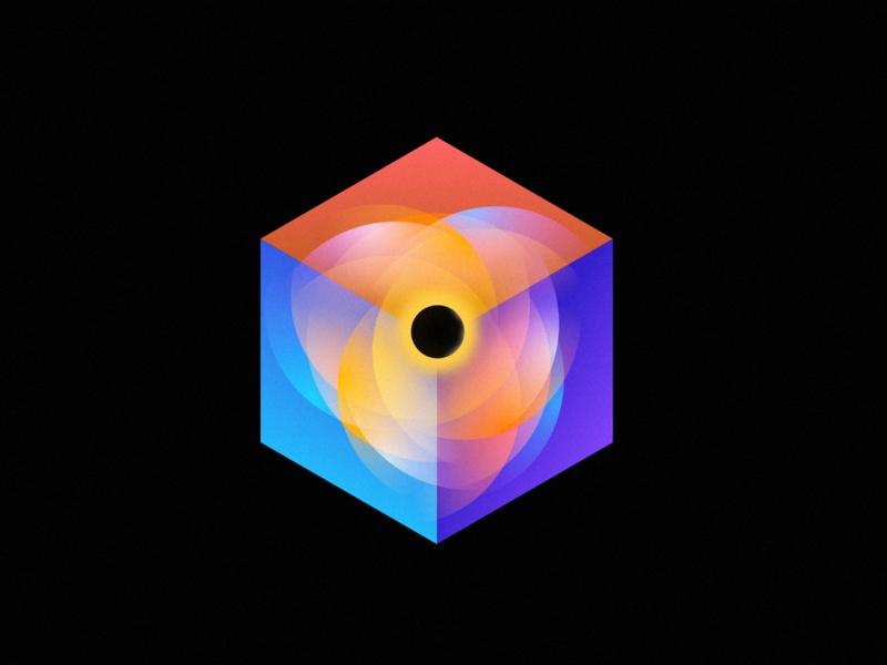 Cube Black hole cube clean illustration icon wantline flat