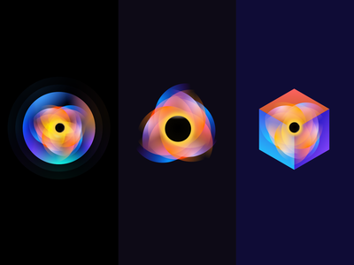 Black hole gradient illustration clean wantline icon flat