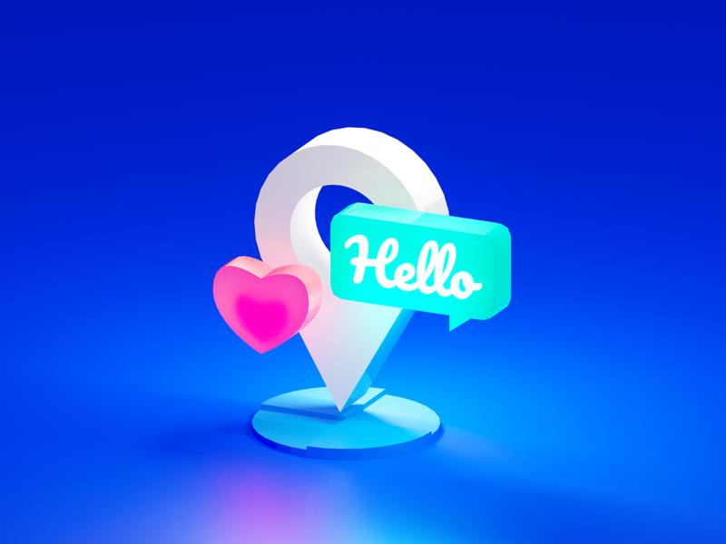 Location tips love location blender 3d blue illustration icon flat