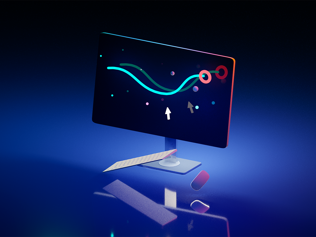 17th desktop blender desktop icon clean illustration blue flat