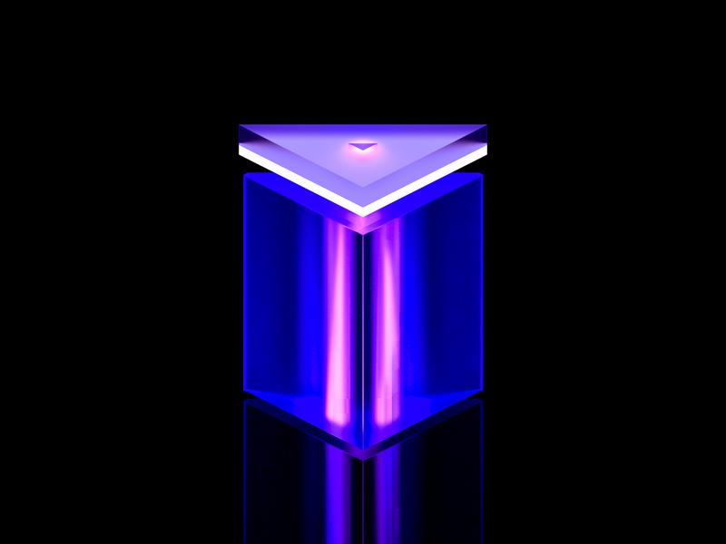 Prism colorful clean icon blue illustration flat wantline 3d