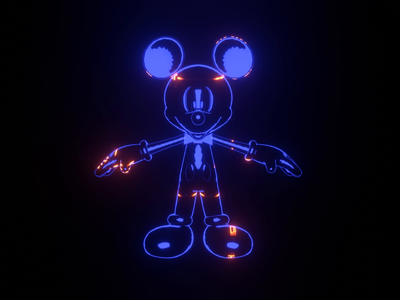 Mickey Mouse 3d animation mickeymouse mouse lights eevee blender hologram